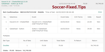Fixed Match Offer, safe fixed matches