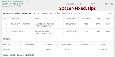 Fixed Match Offer, fixed games today, ht ft tips