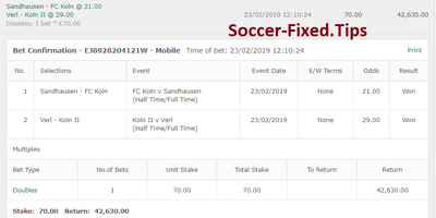 Fixed Match Offer, buy fixed matches today