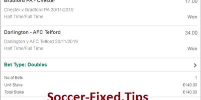 1×2 Fixed Bets Matches Today